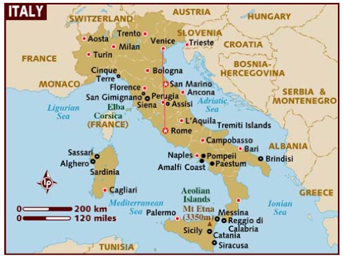 Basic Map Of Italy.Italy Information Factual Highlights